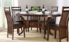 Dark Townhouse & Java Oval Extending Dining Table and 4 6 Chairs Set (Brown)