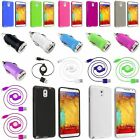 TPU Slim Skin Gel Case+Retract Cord+Car Charger For Samsung Galaxy Note 3 N9000