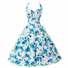 Retro 50s Pinup Ladies Elegant Flower Print Ball Evening Prom Gown Party Dresses