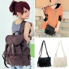 New Womens Vintage Canvas Satchel Girl's Tassel Shoulder School Bag Backpack