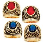 PalmBeach Men's Oval-Cut Simulated Sapphire or Ruby Military Ring in Antiqued 14