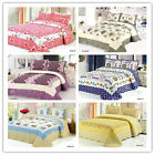 New Cute Floral King Size Quilted Bedspread/Coverlet Set 100%Cotton 240*255cm 3P