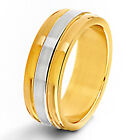 Two-tone Stainless Steel Men's Flat Ring