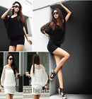 Hot Fashion Batwing Women Hollow Dress Sexy Hip Package Casual Party Dress 2Size
