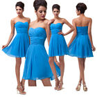 2014Blue Mini Sleevelss Lady Strapless Chiffon Cocktail Evening Prom Party Dress