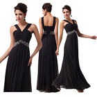 Black New Stylish Women's Long Ball Formal Evening Prom Gown Party Chiffon Dress
