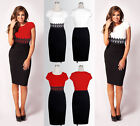 Vintage Womens Lace Long Sleeve Evening Bodycon Black White Pencil Party Dress