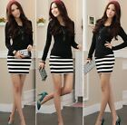 Women's Black Mini Striped Dress Slim Long Sleeve Patchwork Party Tunic Shirt