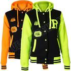 New Womens Ladies College Varsity baseball Hooded jacket Top Size S M L XL 8 12