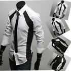 PJ Luxury Mens Casual Slim Fit Stylish Black White Patched Dress Shirts Style