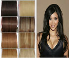 """7Pcs Straight Weft Weaving Remy Real Human Indian Hair Extensions 12""""-26"""" 8Color"""