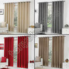 EYELET RING TOP FULLY LINED PAIR READY MADE CURTAINS PLAIN CREAM RED GREY SILVER