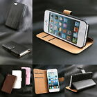 Wallet Stand 2 Card Genuine Leather Flip Case For Apple iPhone 5 5G Cover