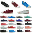 NEW WOMENS ALL COLOURS LACE UP PLIMSOLLS GIRLS FLAT CANVAS PUMPS SHOES SIZE 2-8