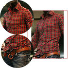 New PJ Mens Long Sleeve Luxury Casual Slim Fit Plaids Stylish Dress Shirts Red
