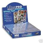 NEW* (100) ULTRA PRO 9 Pocket Pages for Binder BASEBALL Cards or COUPON Sleeves