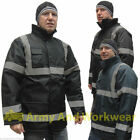 Hi Viz Parka Reflective Waterproof Padded Work Mens Traffic Jacket Coat Guard