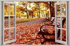 Huge 3D Window Autumn view acroos park Wall Stickers Mural Art Decal Wallpaper