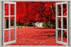 Huge 3D Window Beautiful Red Forest View Wall Stickers Mural Art Decal Wallpaper