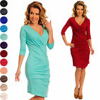 Jersey Bodycon Ruched Sides Surplice V Neck Stretch Soft Mini Dress UK 4-18 974