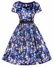 NEW LINDY BOP VINTAGE 1950's STYLE BLUEBERRY FLORAL PRINT FLARED RETRO TEA DRESS