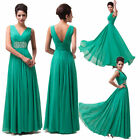 New Deep V Women Chiffon Wedding Bridesmaid Evening Formal Party Ball Prom Dress