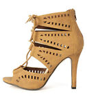 Cut Out Peep Toe Lace Up Gladiator Caged High Heel Zipper Pump Strappy Tan Shoes