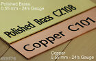 Polished Brass & Copper Sheet 0.55 mm 24's Gauge - Model Engineering Steam Train