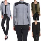 TheMogan S~3X Draped Jersey Cardigan with Leather Shoulder Patch