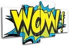 Wow Comic Yellows Illustration MULTI CANVAS WALL ART Picture Print VA