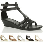 WOMENS LOW WEDGE STRAPPY LADIES GLADIATOR SANDALS SIZE