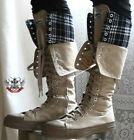 20 Hole Punk Rock Knee Hi Flip Fold Collar Khaki Tartan Plaid Unisex Sneaker