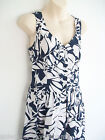 Ladies Fully Lined White & Navy Cotton Button Fronted Long Summer Dress