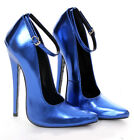 "18cm 7"" Stiletto Heel Fetish Custom Handmade Metallic Blue Sharp toe Mary Janes"