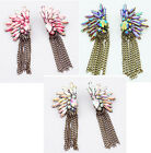 3Colors Option Rhinestones Chains Tassels Colorful Crystals Studs Earrings