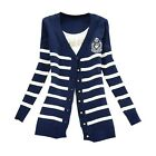 Retro British Stripes Long Sleeve Knitted Striped Buttoned Cardigan Blouse Coat