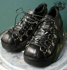 Goth Punk Cosplay Visual Kei D Ring Platform Heel Black Clog Sneaker Men Women