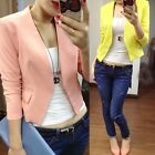 Women Fashion Folding Sleeve Polyester Blazer Suit Jacket Top Coat Outerwear
