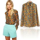 Womens Sexy Leopard Animal Print Chiffon Shirt Casual Long Sleeve Tops Blouse