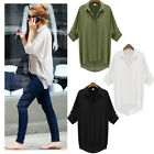 New Fashion Women Chiffon Shirt Turn-down Collar Long Sleeve Loose Top Blouse
