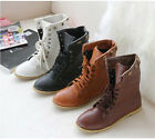 Fashion Womens Lace Up Rivet Ankle Boots Riding Flat Heel Shoes AU All Size F603