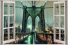 Huge 3D Window view Fantasy Night Bridge Wall Sticker Film Art Decal Wallpaper