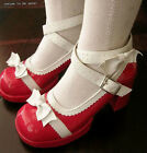 Sweet Lolita Dolly Cosplay Princess Bow Tie Mary Jane Heel Pump Patent Red+White