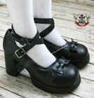 Sweet Lolita Dolly Cosplay Princess Bow Tie Mary Jane Heel Handmade Matte Black