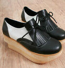 Punk Rock Gothic Men Women Faux Wood Sole Leather Platform Fringe Oxford 2 Tone
