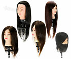 """18-22"""" 50-100% Human Hair Synthetic Training Practice Mannequin Head w/Clamp"""