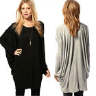 Women Casual Batwing Long Sleeve Round Neck Loose Dress Long Tee Top Blouse S-XL