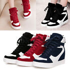 Womens Real Cow Leather Lace Up Hidden Wedge Hi Top Trainers Sneakers Shoes 637