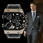 New Men's Military Army Three Time Zones PU Strap Quartz Wrist Watch Multi 0IJ