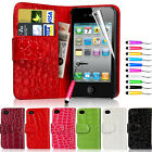 Crocodile Pattern Wallet Leather Case Cover For iPhone 4 4S + Screen Guard